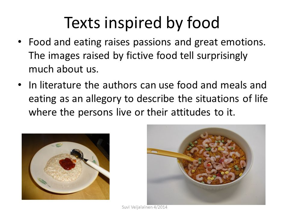 Texts inspired by Food Information and Library Service Students of Vocational Educational Centre in Seinäjoki took a challenging task to research and find texts in literature, most Finnish, which deal with food and eating.
