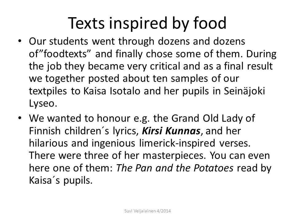 Texts inspired by food Sadly in many books of teenage-girls food is playing a bad role and one can read heart- rending stories of anorexia or bulimia.
