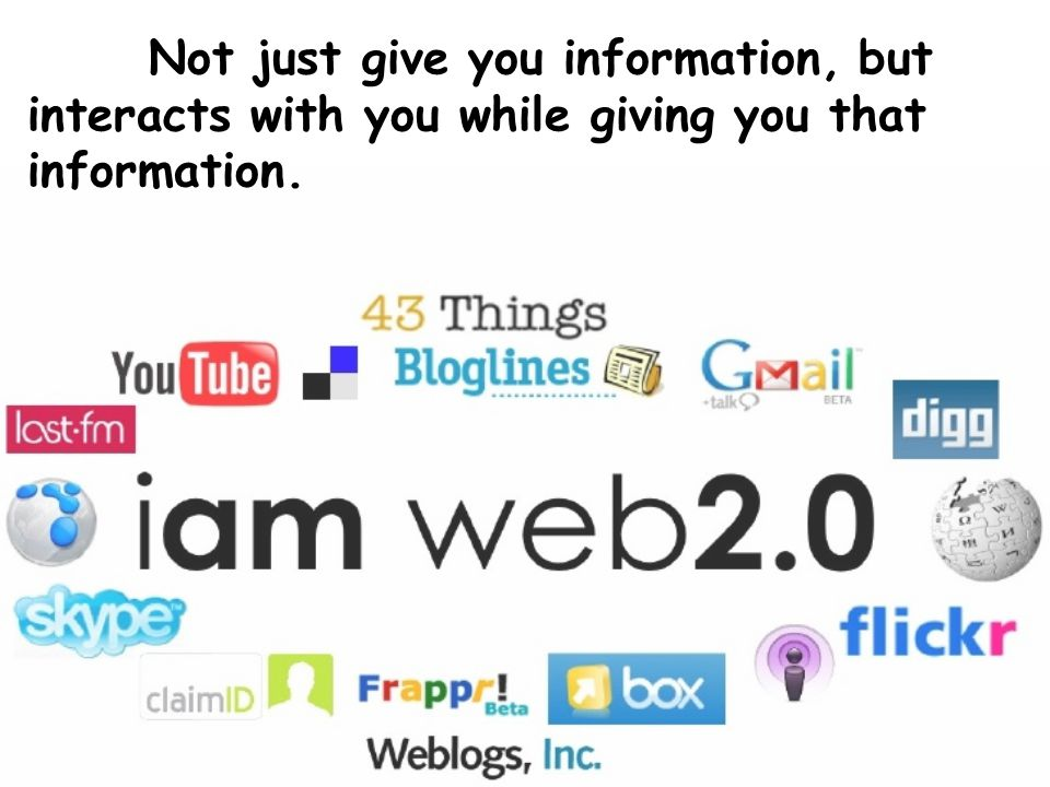 Not just give you information, but interacts with you while giving you that information.