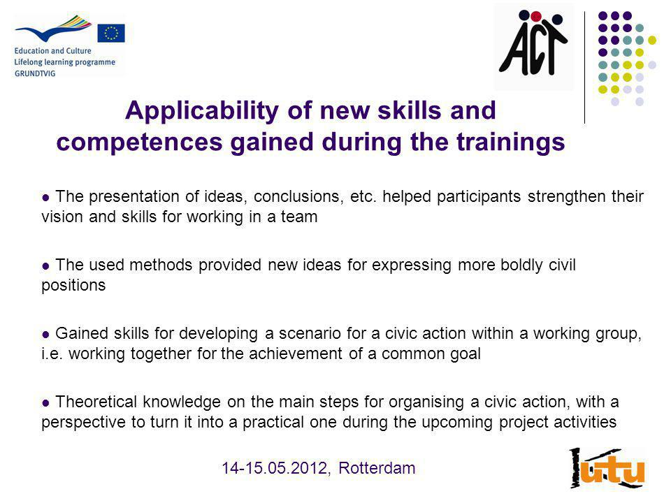Applicability of new skills and competences gained during the trainings The presentation of ideas, conclusions, etc.