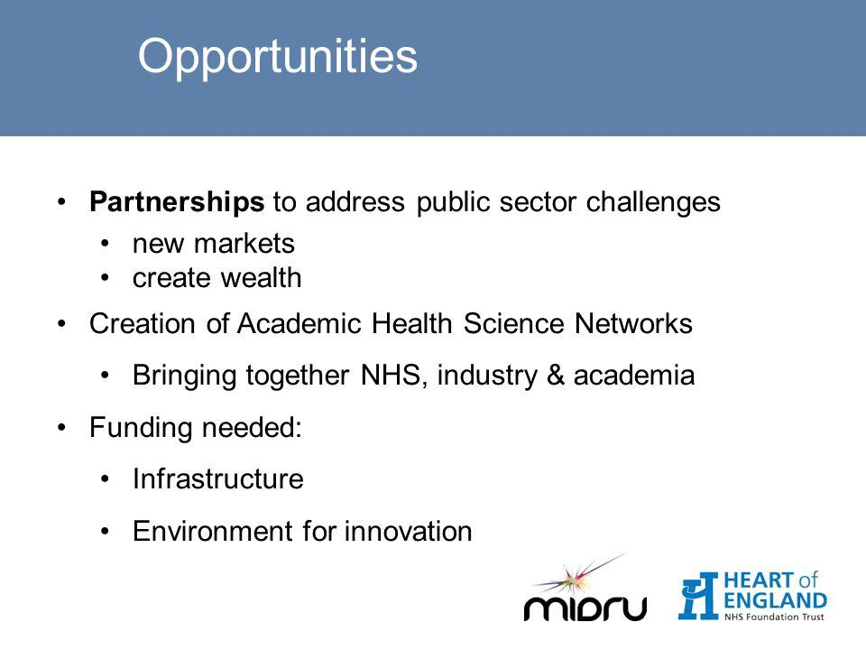 Opportunities Partnerships to address public sector challenges new markets create wealth Creation of Academic Health Science Networks Bringing together NHS, industry & academia Funding needed: Infrastructure Environment for innovation