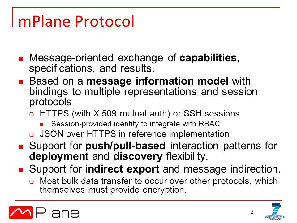 12 mPlane Protocol Message-oriented exchange of capabilities, specifications, and results.