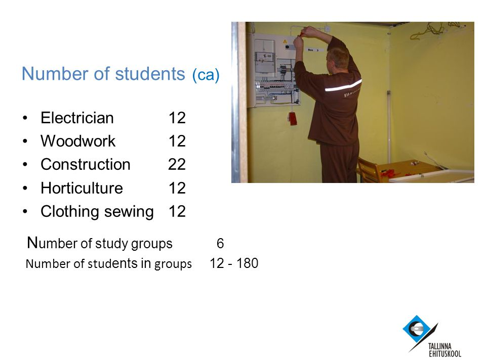 Number of students (ca) Electrician12 Woodwork 12 Construction22 Horticulture12 Clothing sewing12 N umber of study groups6 Number of stud ents in groups 12 - 180