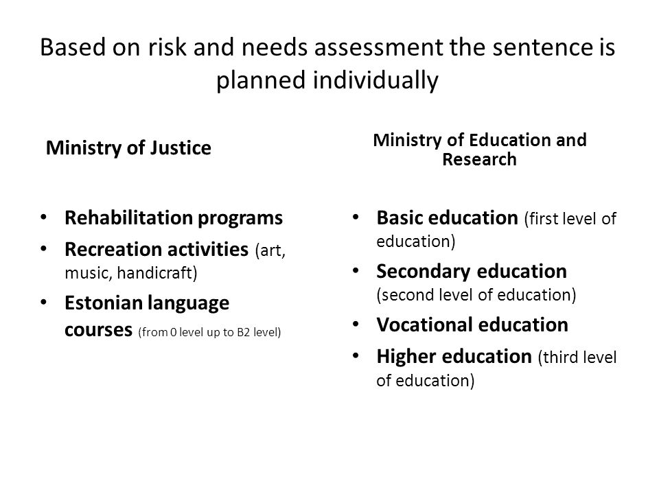Based on risk and needs assessment the sentence is planned individually Ministry of Justice Rehabilitation programs Recreation activities (art, music, handicraft) Estonian language courses (from 0 level up to B2 level) Ministry of Education and Research Basic education (first level of education) Secondary education (second level of education) Vocational education Higher education (third level of education)