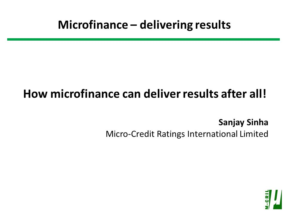 How microfinance can deliver results after all.