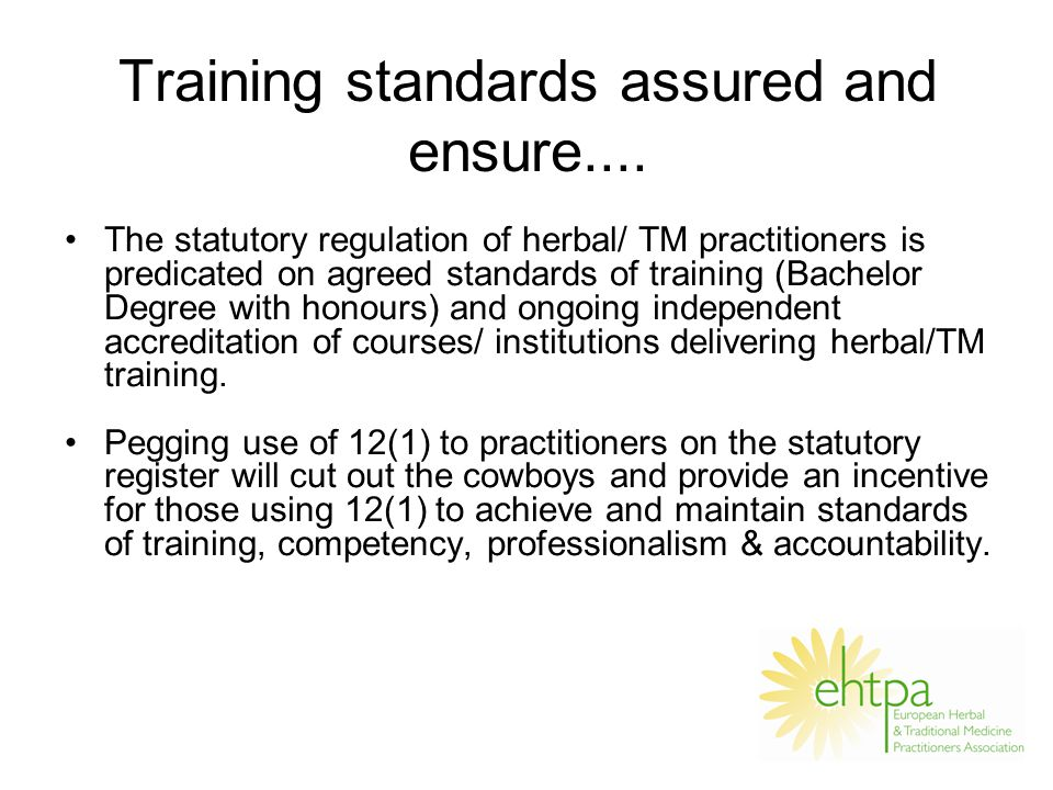 Training standards assured and ensure....