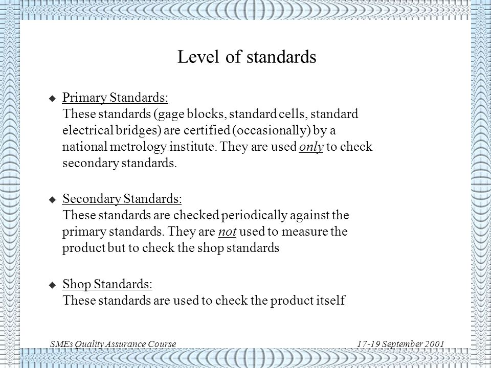 SMEs Quality Assurance Course17-19 September 2001 Checking interval The initial checking interval is based on instrument manufacturer recommendation and company experience.