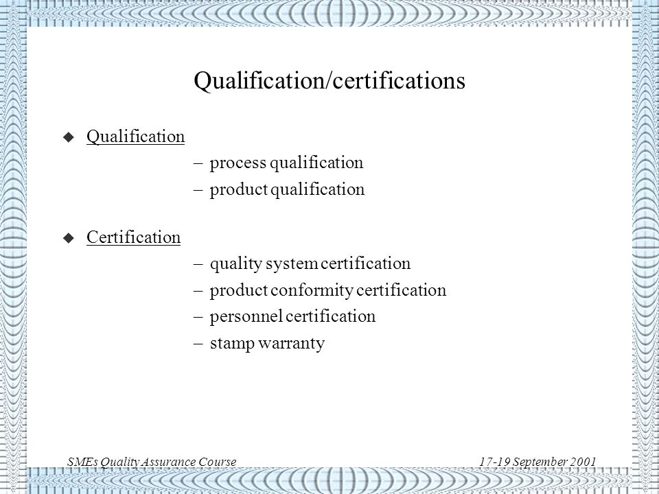 SMEs Quality Assurance Course17-19 September 2001 Quality Assurance: main elements/techniques u Organisation u Manual, Procedures, Plans and Records u Inspections u Audits u Nonconformance Control u Training * Qualifications/Certifications