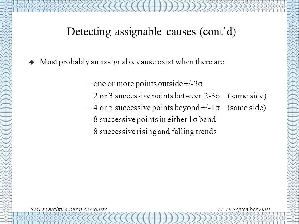 SMEs Quality Assurance Course17-19 September 2001 Detecting assignable causes u Assignable causes are variations above the minimum.