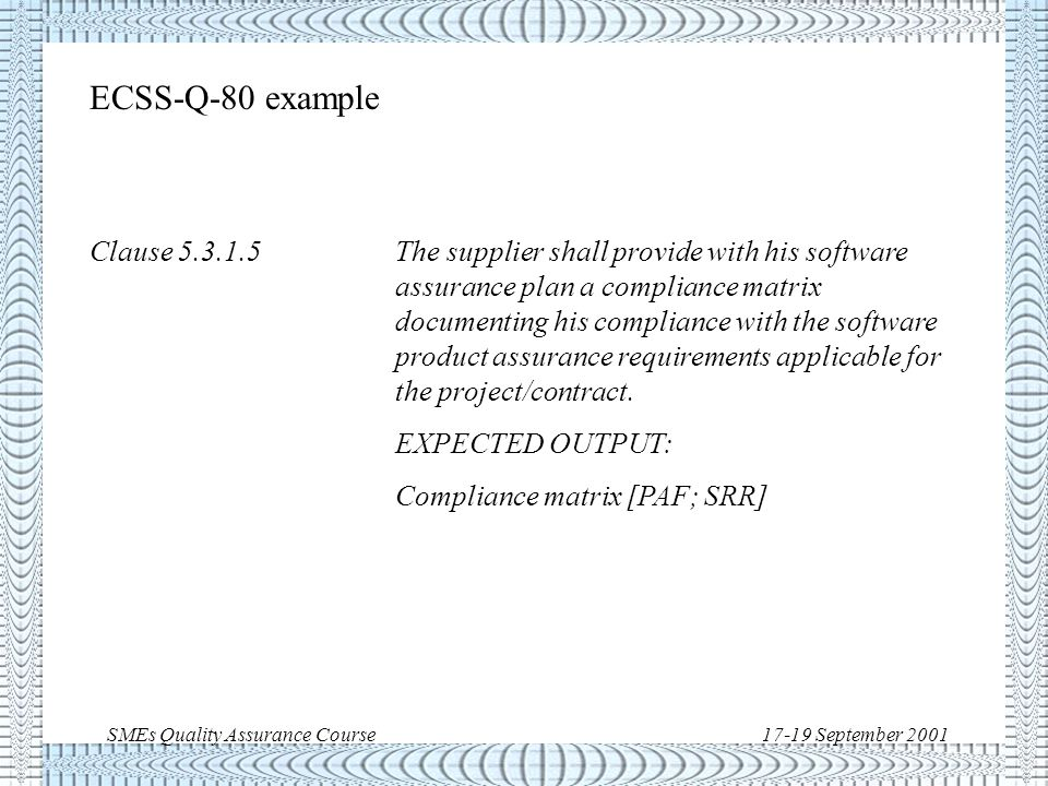 SMEs Quality Assurance Course17-19 September 2001 ECSS-E-40 example Clause 5.4.3.4The supplier shall develop and document a top- level design for the interfaces external to the software item and between the software components of the software item.