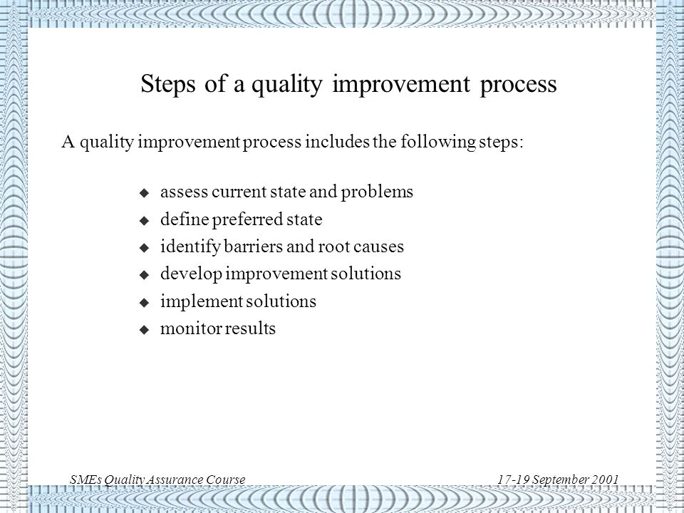 SMEs Quality Assurance Course17-19 September 2001 Prevention of chronic troubles Sporadic spike time quality improvement Cost of poor quality new quality control zone old quality control zone {