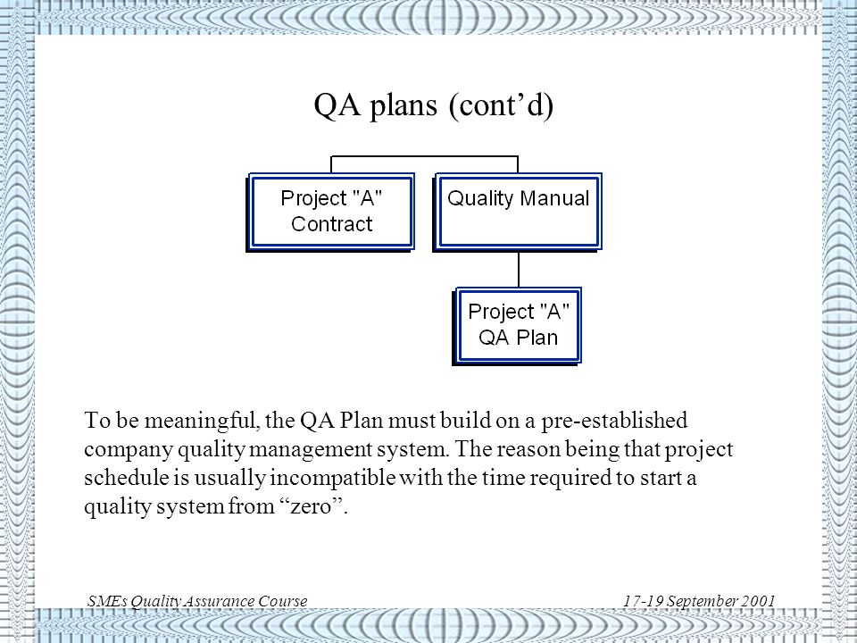 SMEs Quality Assurance Course17-19 September 2001 QA plans In general, a plan is a method or strategy for achieving an objective.
