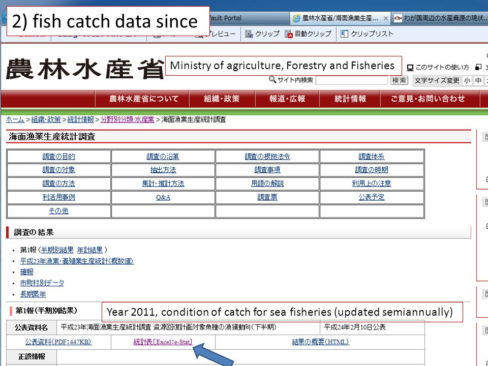 Ministry of agriculture, Forestry and Fisheries Year 2011, condition of catch for sea fisheries (updated semiannually) 2) fish catch data since