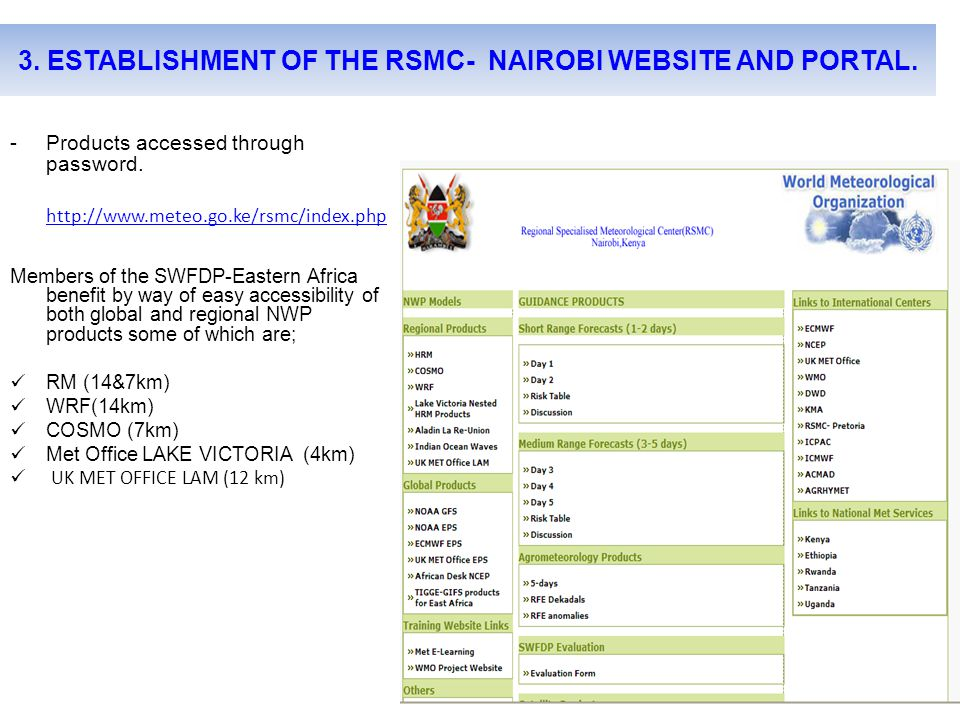 3. ESTABLISHMENT OF THE RSMC- NAIROBI WEBSITE AND PORTAL.