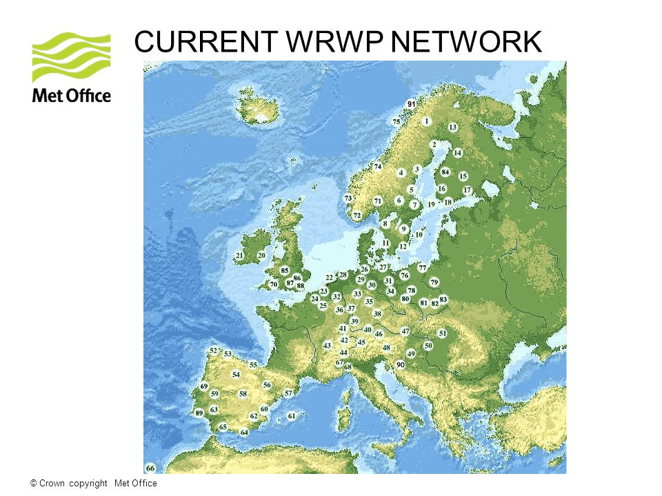 © Crown copyright Met Office CURRENT WRWP NETWORK