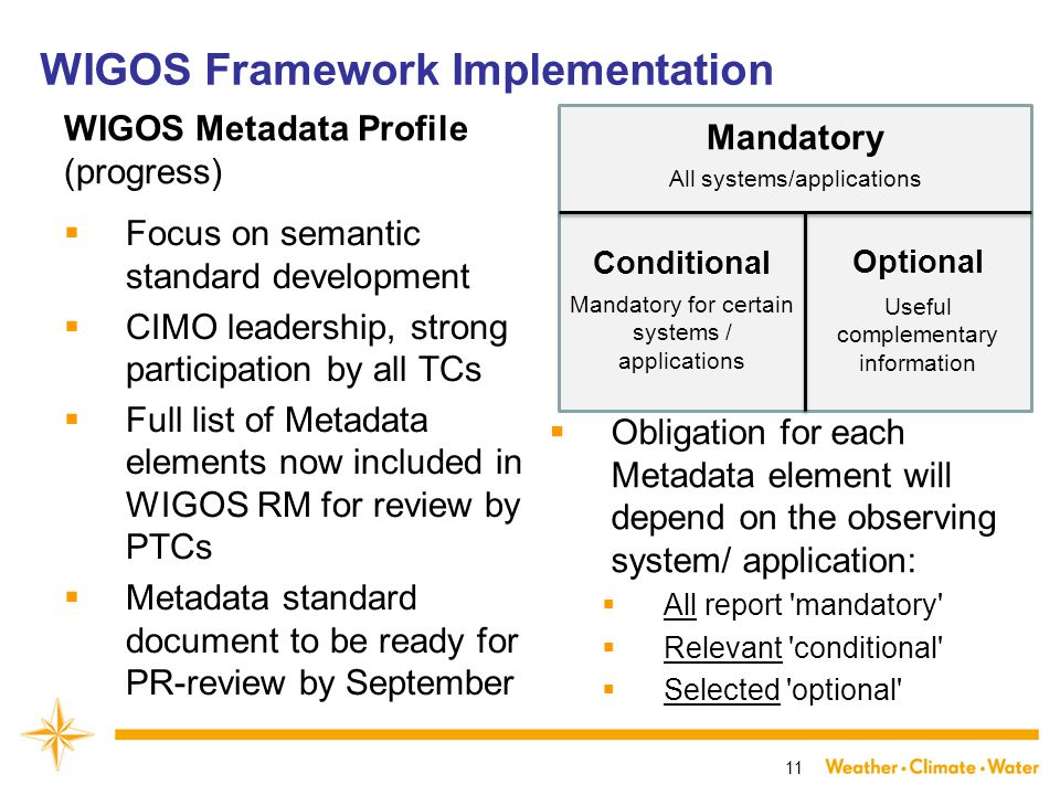 WIGOS Metadata Profile (progress)  Focus on semantic standard development  CIMO leadership, strong participation by all TCs  Full list of Metadata elements now included in WIGOS RM for review by PTCs  Metadata standard document to be ready for PR-review by September  Obligation for each Metadata element will depend on the observing system/ application:  All report mandatory  Relevant conditional  Selected optional 11 Conditional Mandatory Optional WIGOS Framework Implementation All systems/applications Mandatory for certain systems / applications Useful complementary information