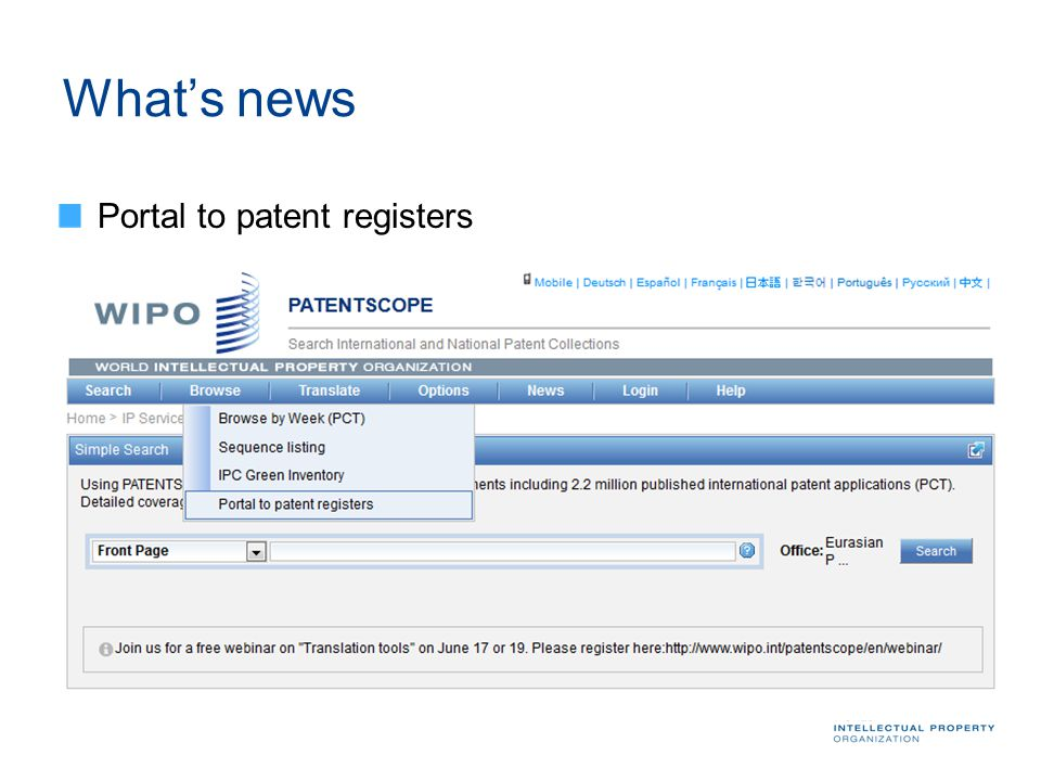 What's news Portal to patent registers