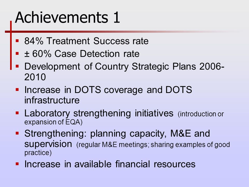 Achievements 1  84% Treatment Success rate  ± 60% Case Detection rate  Development of Country Strategic Plans  Increase in DOTS coverage and DOTS infrastructure  Laboratory strengthening initiatives (introduction or expansion of EQA)  Strengthening: planning capacity, M&E and supervision (regular M&E meetings; sharing examples of good practice)  Increase in available financial resources