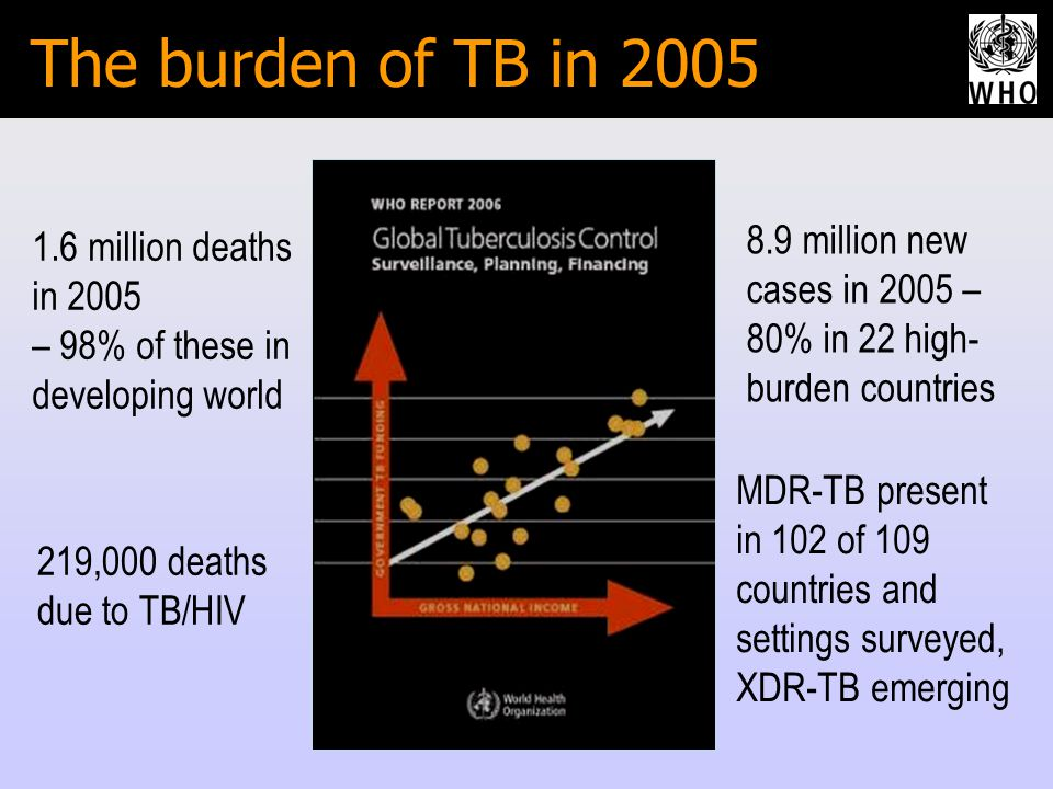 The burden of TB in million deaths in 2005 – 98% of these in developing world 219,000 deaths due to TB/HIV MDR-TB present in 102 of 109 countries and settings surveyed, XDR-TB emerging 8.9 million new cases in 2005 – 80% in 22 high- burden countries
