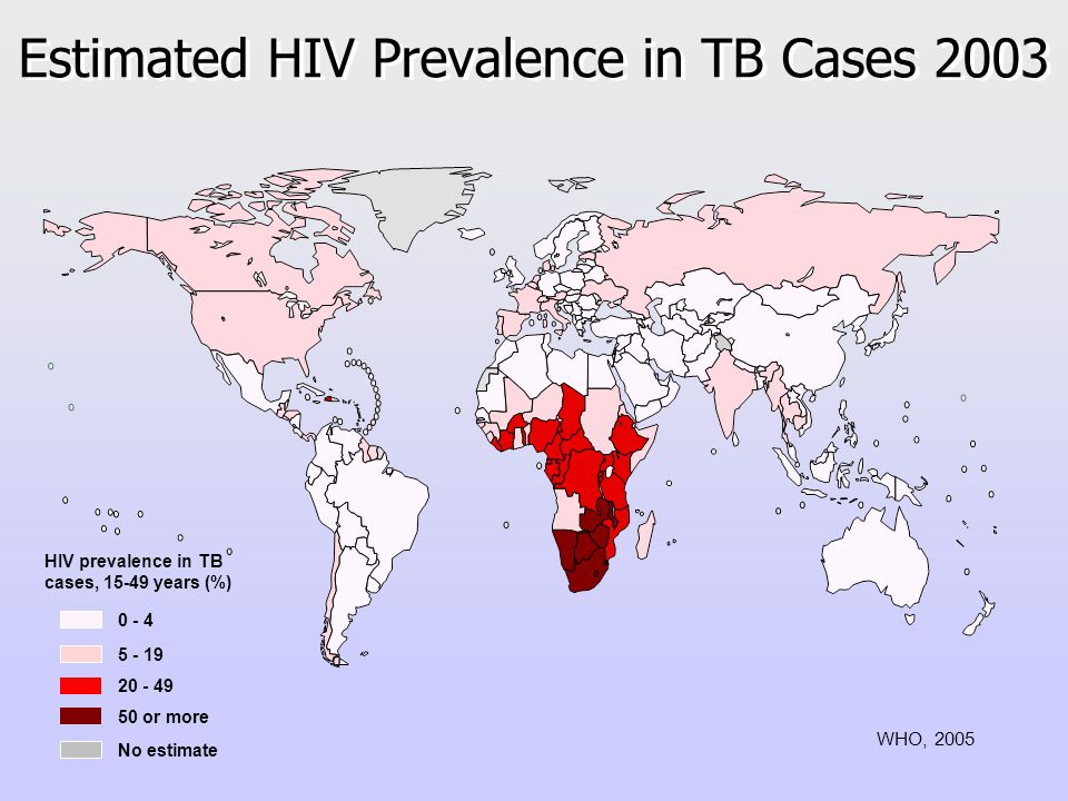Estimated HIV Prevalence in TB Cases or more HIV prevalence in TB cases, years (%) No estimate WHO, 2005