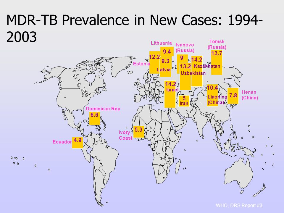 MDR-TB Prevalence in New Cases: WHO, DRS Report #3 9.4 Estonia Ivanovo (Russia) Latvia Henan (China) Iran Liaoning (China) Dominican Rep Tomsk (Russia) 13.7 Israel Ivory Coast 4.9 Ecuador 14.2 Kazakhstan 13.2 Uzbekistan Lithuania