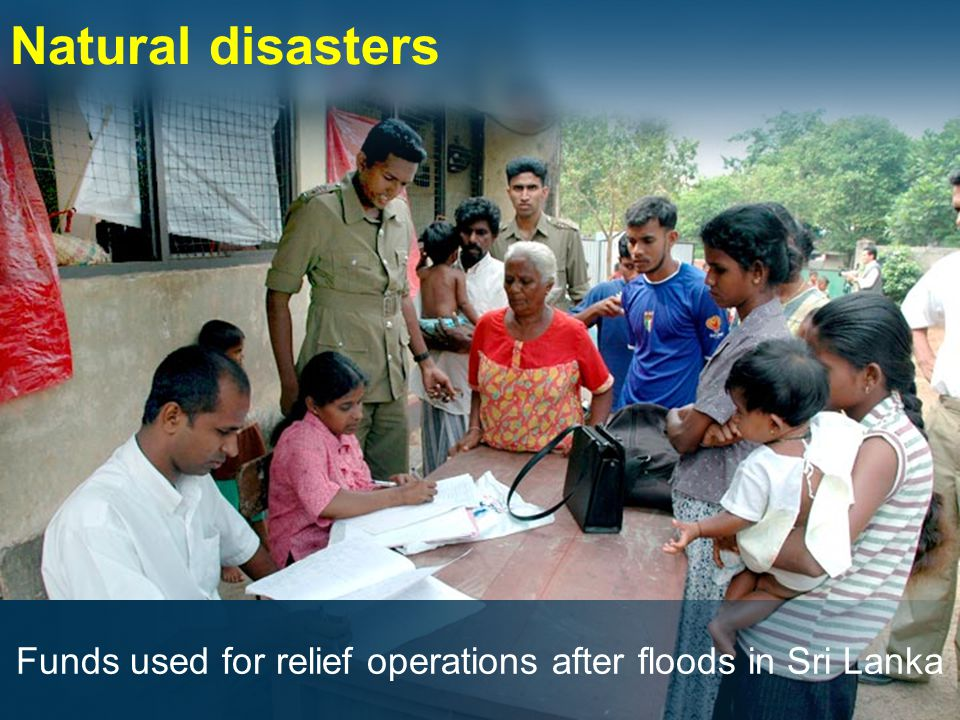 Natural disasters Funds used for relief operations after floods in Sri Lanka