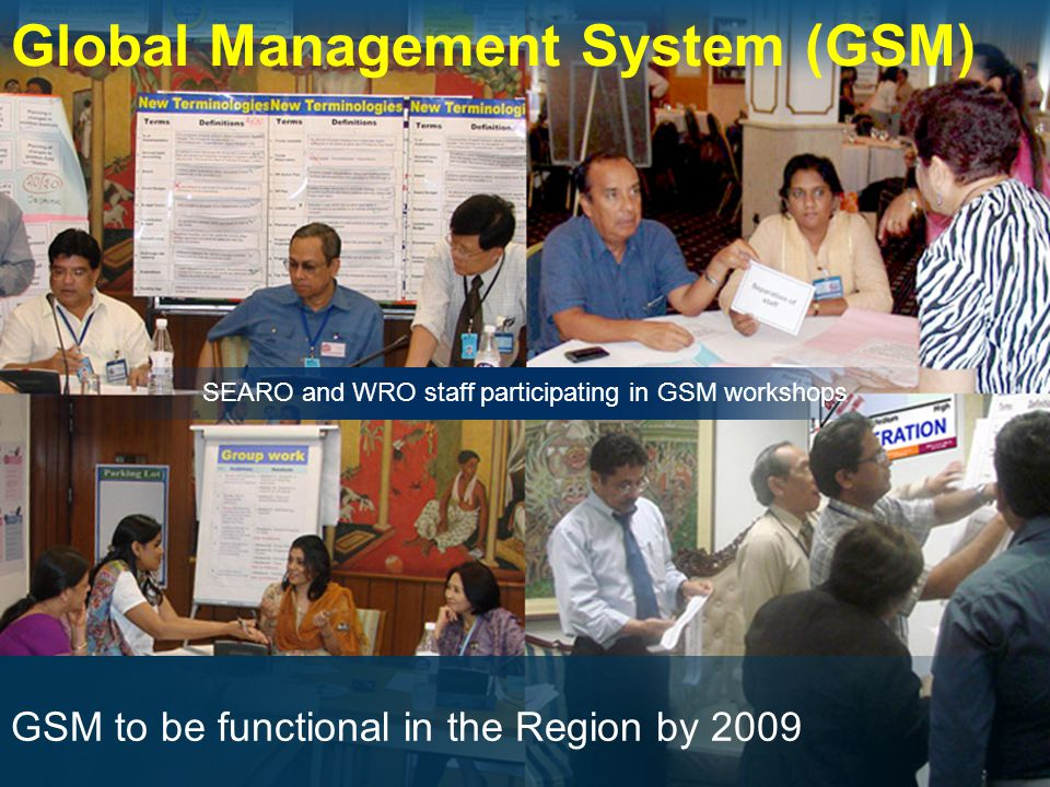 Global Management System (GSM) SEARO and WRO staff participating in GSM workshops GSM to be functional in the Region by 2009