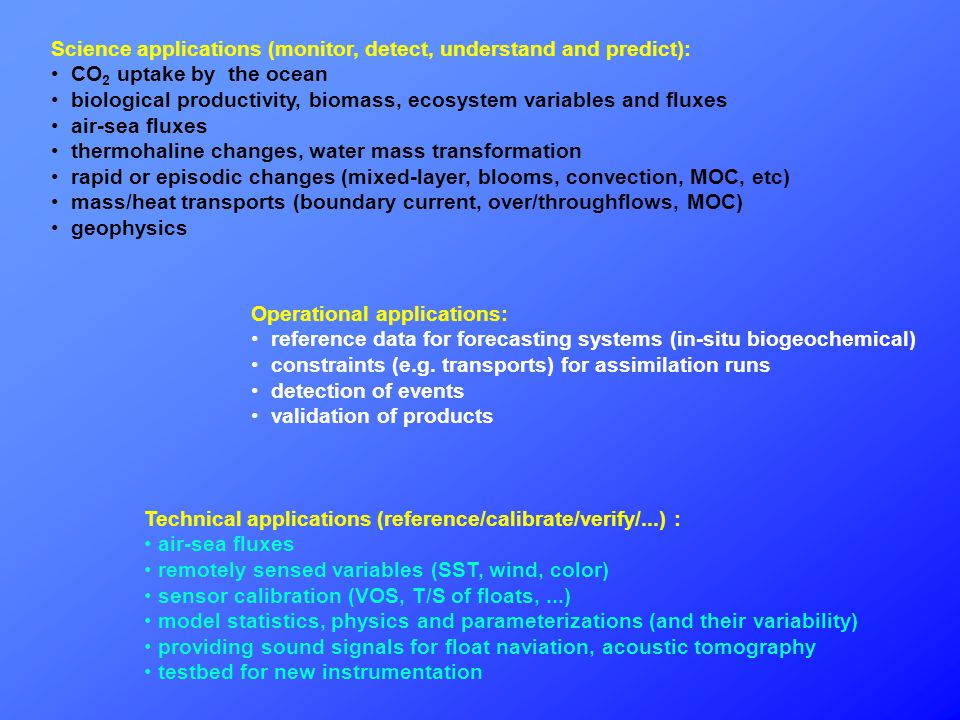 Science applications (monitor, detect, understand and predict): CO 2 uptake by the ocean biological productivity, biomass, ecosystem variables and fluxes air-sea fluxes thermohaline changes, water mass transformation rapid or episodic changes (mixed-layer, blooms, convection, MOC, etc) mass/heat transports (boundary current, over/throughflows, MOC) geophysics Operational applications: reference data for forecasting systems (in-situ biogeochemical) constraints (e.g.