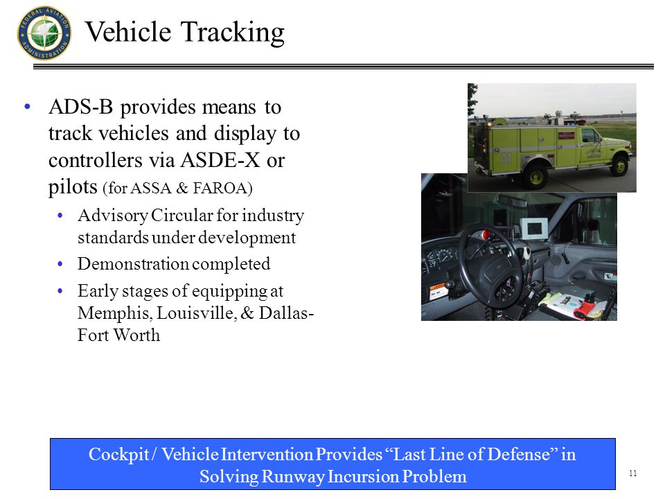 11 Vehicle Tracking ADS-B provides means to track vehicles and display to controllers via ASDE-X or pilots (for ASSA & FAROA) Advisory Circular for industry standards under development Demonstration completed Early stages of equipping at Memphis, Louisville, & Dallas- Fort Worth Cockpit / Vehicle Intervention Provides Last Line of Defense in Solving Runway Incursion Problem