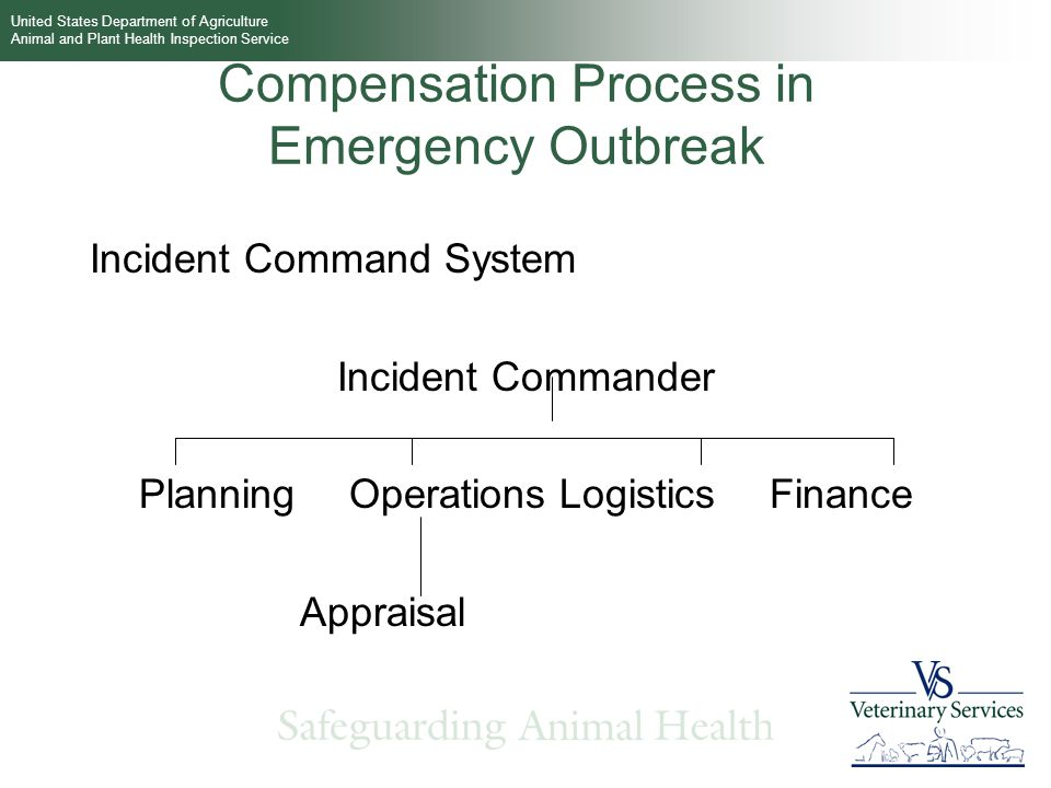 United States Department of Agriculture Animal and Plant Health Inspection Service Compensation Process in Emergency Outbreak Incident Command System Incident Commander PlanningOperationsLogisticsFinance Appraisal