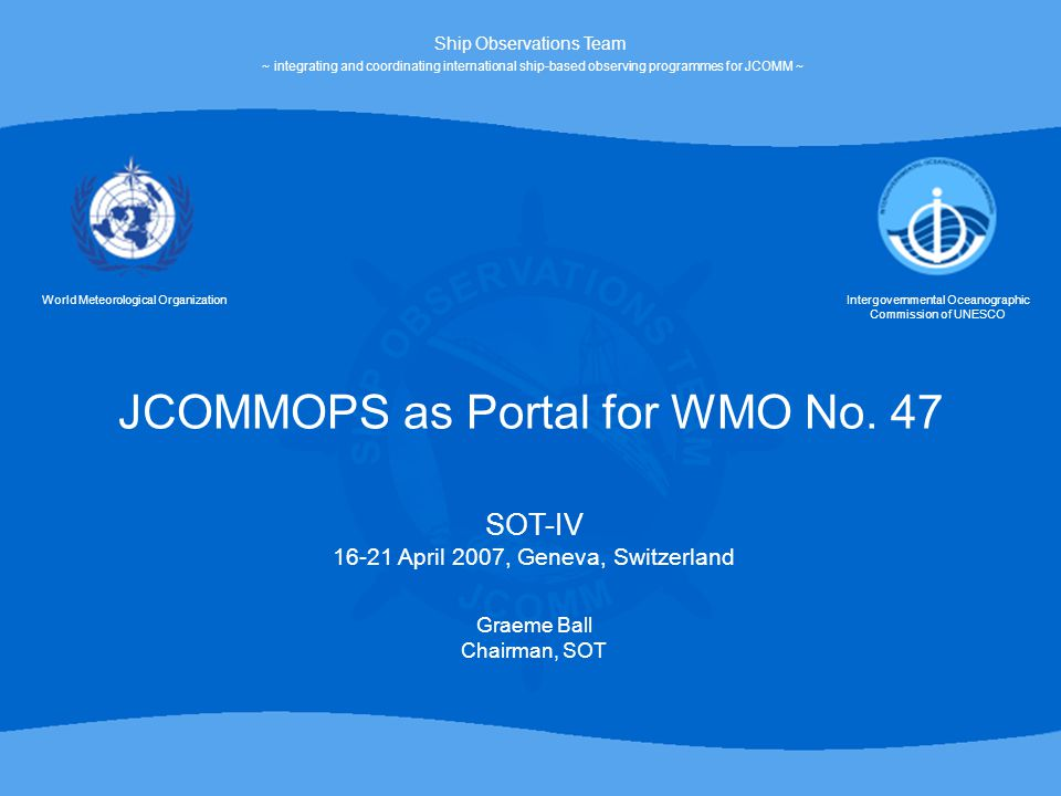 JCOMMOPS as Portal for WMO No.