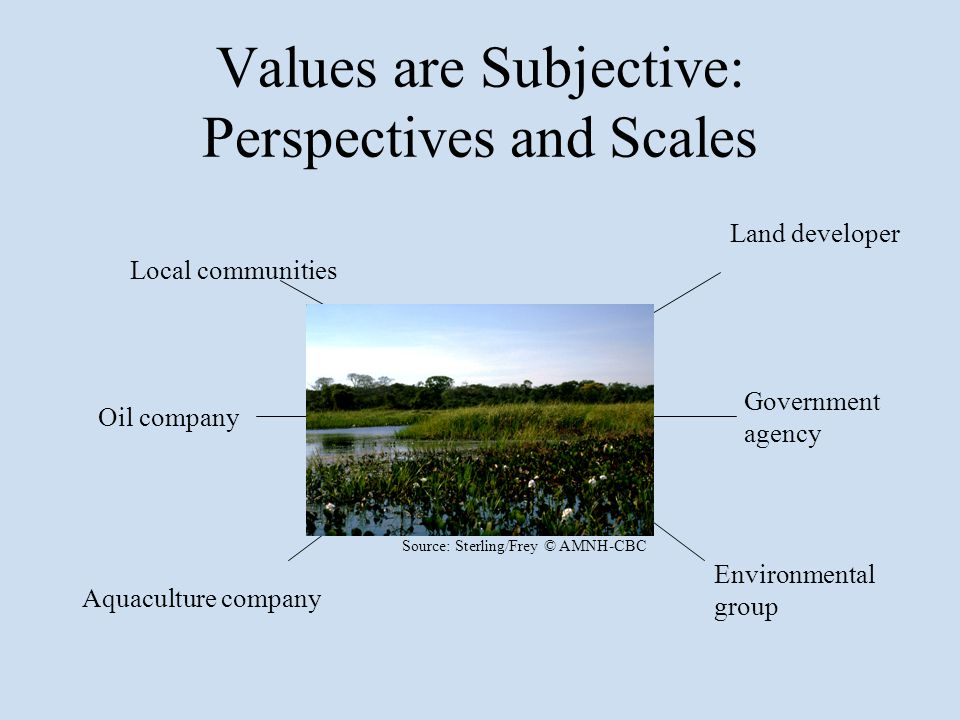 Values are Subjective: Perspectives and Scales Land developer Government agency Local communities Oil company Aquaculture company Environmental group Source: Sterling/Frey © AMNH-CBC