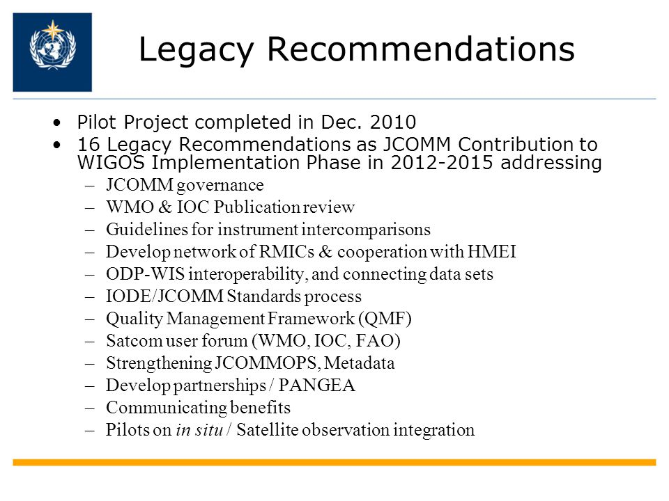 Legacy Recommendations Pilot Project completed in Dec.