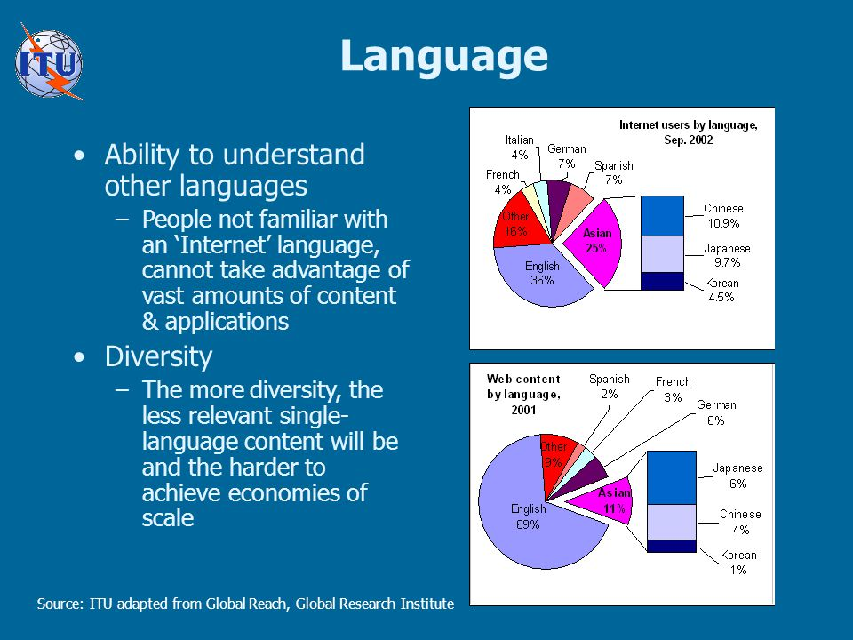 Language Source: ITU adapted from Global Reach, Global Research Institute Ability to understand other languages –People not familiar with an 'Internet' language, cannot take advantage of vast amounts of content & applications Diversity –The more diversity, the less relevant single- language content will be and the harder to achieve economies of scale