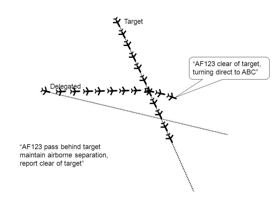 Target Delegated AF123 pass behind target maintain airborne separation, report clear of target AF123 clear of target, turning direct to ABC