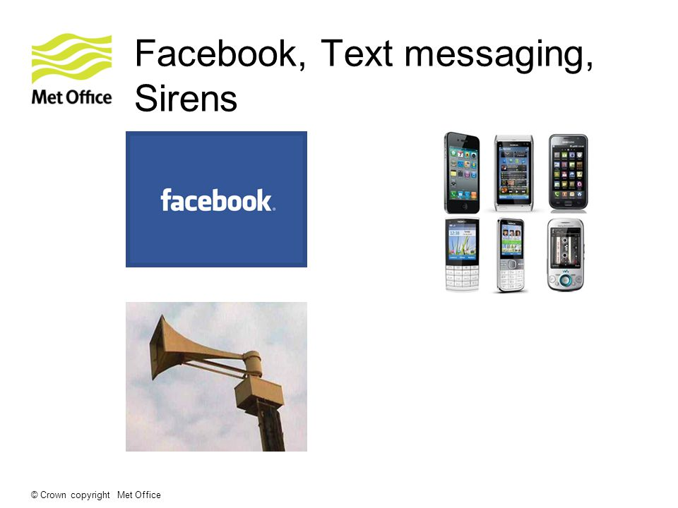 © Crown copyright Met Office Facebook, Text messaging, Sirens