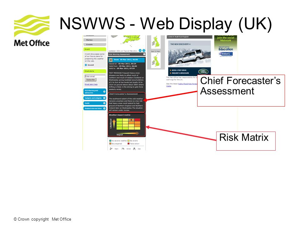 © Crown copyright Met Office NSWWS - Web Display (UK) Chief Forecaster's Assessment Risk Matrix