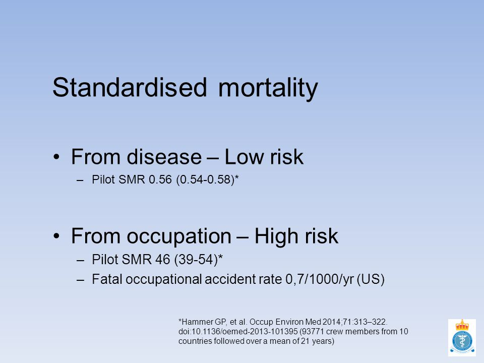 Standardised mortality From disease – Low risk –Pilot SMR 0.56 (0.54-0.58)* From occupation – High risk –Pilot SMR 46 (39-54)* –Fatal occupational accident rate 0,7/1000/yr (US) *Hammer GP, et al.