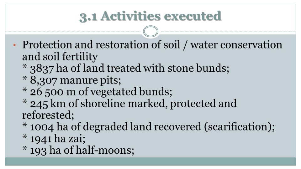 3.1 Activities executed Protection and restoration of soil / water conservation and soil fertility * 3837 ha of land treated with stone bunds; * 8,307 manure pits; * 26 500 m of vegetated bunds; * 245 km of shoreline marked, protected and reforested; * 1004 ha of degraded land recovered (scarification); * 1941 ha zai; * 193 ha of half-moons;