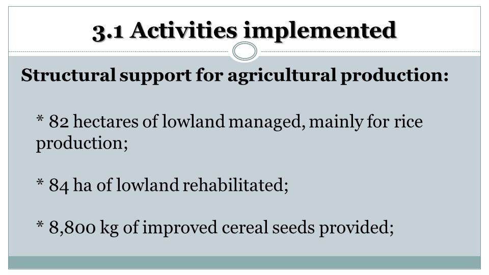3.1 Activities implemented Structural support for agricultural production: * 82 hectares of lowland managed, mainly for rice production; * 84 ha of lowland rehabilitated; * 8,800 kg of improved cereal seeds provided;