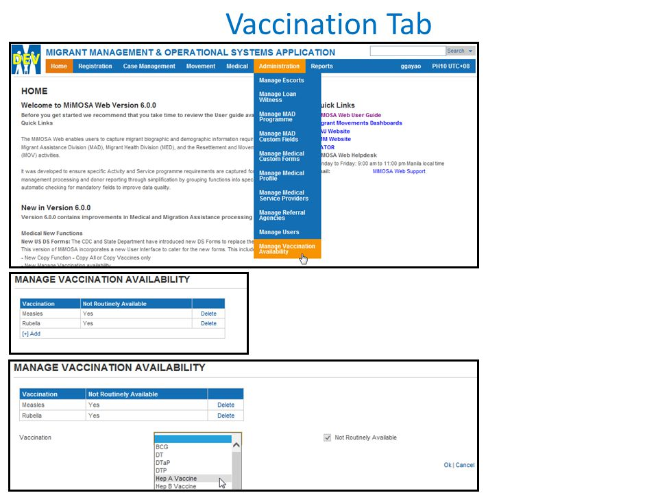 Vaccination Tab