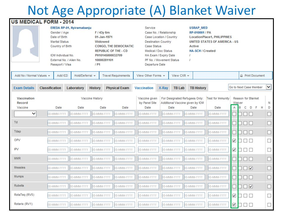 Not Age Appropriate (A) Blanket Waiver