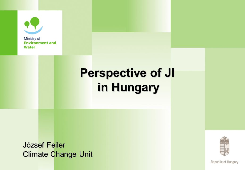 Perspective of JI in Hungary József Feiler Climate Change Unit