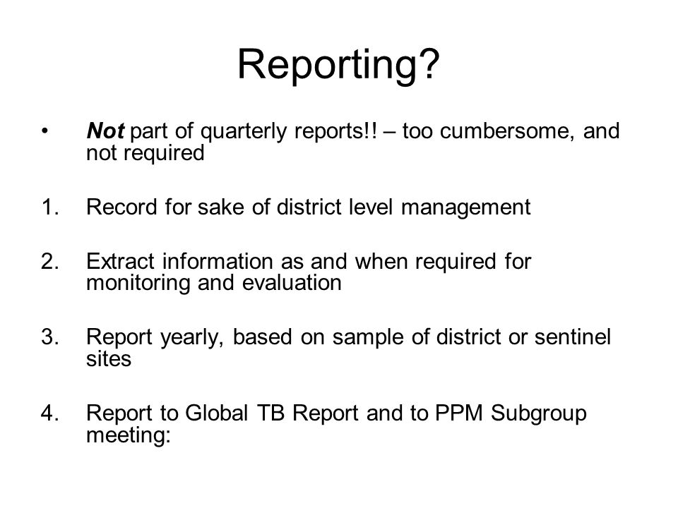 Reporting. Not part of quarterly reports!.
