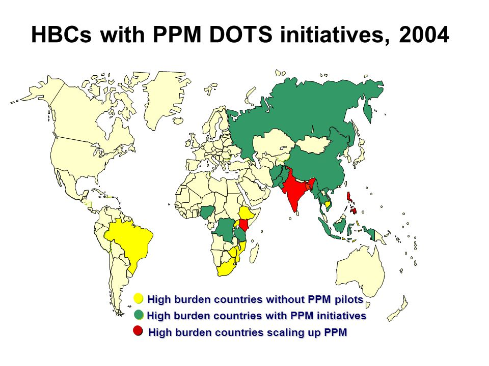 HBCs with PPM DOTS initiatives, 2004 High burden countries with PPM initiatives High burden countries without PPM pilots High burden countries scaling up PPM
