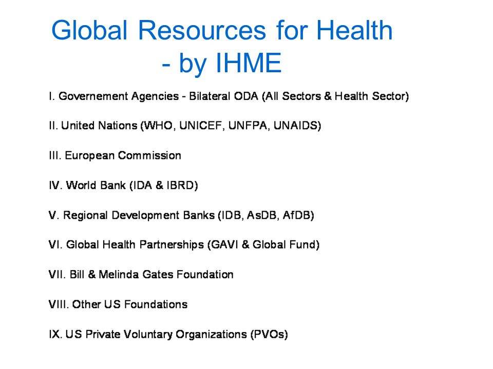 Global Resources for Health - by IHME