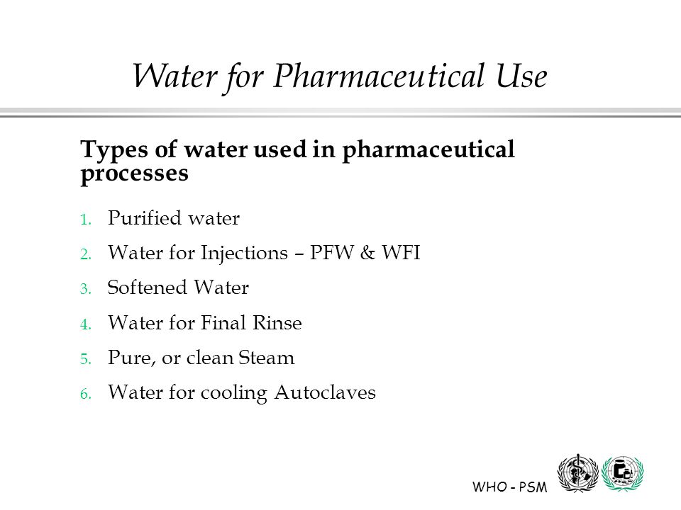 WHO - PSM Water for Pharmaceutical Use Types of water used in pharmaceutical processes 1.