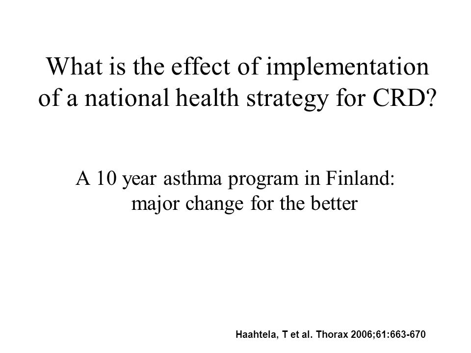 What is the effect of implementation of a national health strategy for CRD.