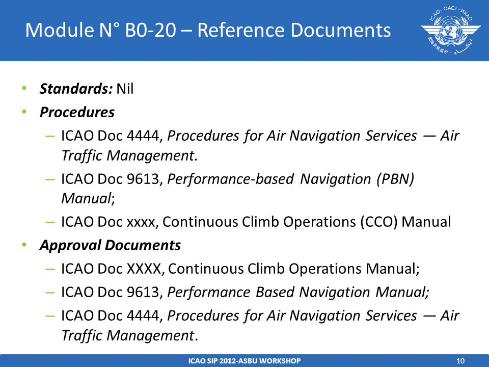 10 Standards: Nil Procedures – ICAO Doc 4444, Procedures for Air Navigation Services — Air Traffic Management.