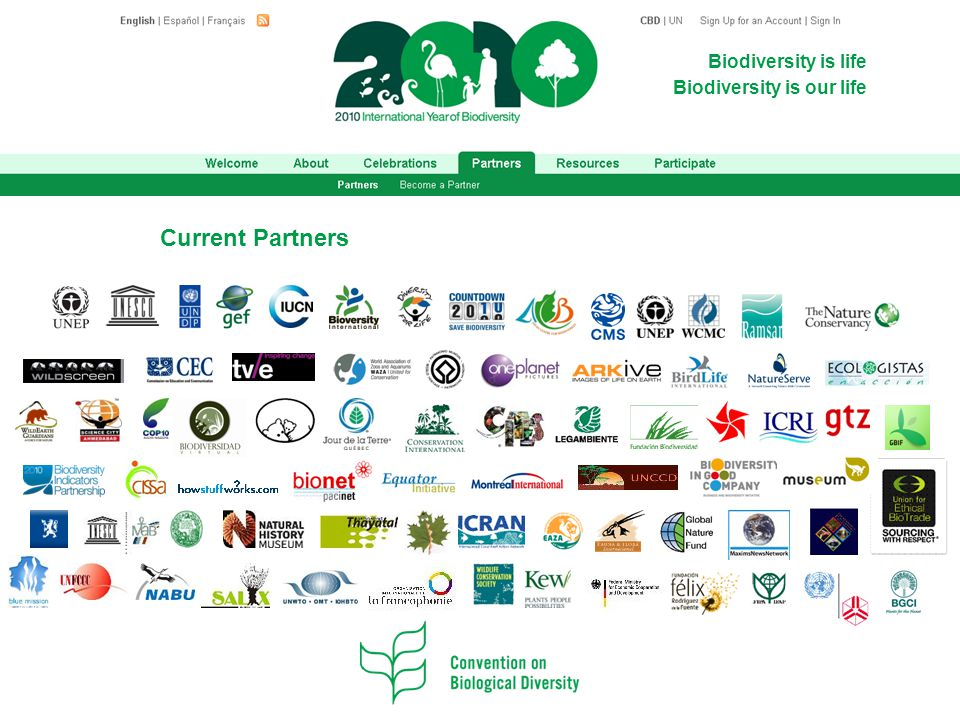 Biodiversity is life Biodiversity is our life Current Partners